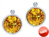 Original Star K™ Round Genuine Citrine Earrings Studs With High Post On Back style: 307819