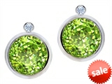 Original Star K™ Round Genuine Peridot Earrings Studs With High Post On Back style: 307820