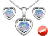 Original Star K™ Round Created Opal Heart Earrings with Box Set matching Pendant