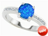 Original Star K™ Round 7mm Simulated Blue Opal Engagement Ring style: 307841