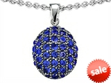 Original Star K™ Oval Puffed Pendant with Created Sapphire style: 307842