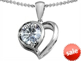 Original Star K™ 8mm Round Genuine White Topaz Heart Pendant style: 307843