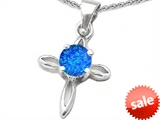 Original Star K™ Round Created Blue Opal Cross Pendant