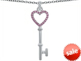 Original Star K™ Round Simulated Pink Tourmaline Heart Shape Key Pendant