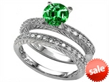 Original Star K™ 7mm Round Simulated Emerald Wedding Set style: 307853