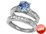 Original Star K™ 7mm Round Simulated Aquamarine Wedding Set