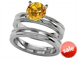 Original Star K™ 7mm Round Simulated Yellow Sapphire Engagement Wedding Set