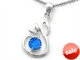 Original Star K™ Round Created Blue Opal Swan Pendant style: 307857
