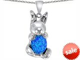 Original Star K™ Love Bunny Pendant With Created Blue Opal Oval 10x8mm style: 307858