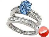 Original Star K™ 8x6mm Oval Simulated Aquamarine Wedding Set style: 307863