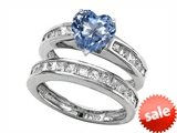Original Star K™ 7mm Heart Shape Simulated Aquamarine Wedding Set