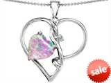 Original Star K™ 10mm Heart Shape Created Pink Opal Knotted Heart Pendant style: 307868