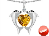 Original Star K™ Kissing Love Dolphins Pendant With 8mm Heart Shape Genuine Citrine