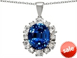 Original Star K™ Oval 12x10mm Created Sapphire Pendant style: 307872