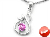 Original Star K™ Round Created Pink Sapphire Swan Pendant style: 307877