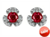 Original Star K™ Flower Earrings With Round 5mm Created Ruby style: 307878