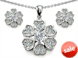Original Star K™ Cubic Zirconia Flower Pendant Box Set With Matching Earrings