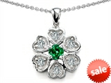 Original Star K™ Flower Pendant With Round 4mm Simulated Emerald