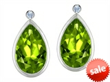 Original Star K™ Pear Shape Genuine Peridot Earring Studs With High Post On Back