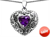 Original Star K™ Bali Style Puffed Heart Hand Finished Heart Shape 7mm Genuine Amethyst Pendant