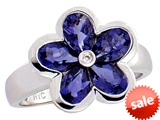 Tommaso Design™ Pear Shape Genuine Iolite Flower Ring style: 307894