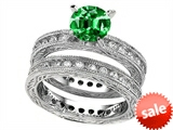 Original Star K™ 7mm Round Simulated Emerald Eternity Wedding Set style: 307897