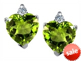 Original Star K™ 7mm Heart Shape Genuine Peridot Earrings style: 307898