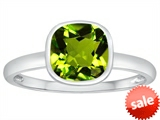 Tommaso Design™ 7mm Cushion Cut Genuine Peridot Engagement Solitaire Ring