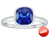Tommaso Design™ 7mm Cushion Cut Created Sapphire Engagement Solitaire Ring