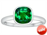 Tommaso Design™ 7mm Cushion Cut Simulated Emerald Engagement Solitaire Ring