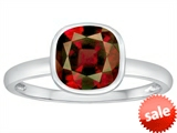 Tommaso Design™ 7mm Cushion Cut Genuine Garnet Engagement Solitaire Ring