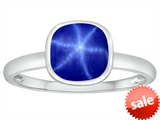 Tommaso Design™ 7mm Cushion Cut Created Star Sapphire Engagement Solitaire Ring