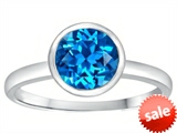 Tommaso Design™ 7mm Round Genuine Blue Topaz Engagement Solitaire Ring