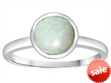 Tommaso Design™ 7mm Round Genuine Opal Engagement Solitaire Ring