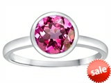 Tommaso Design™ 7mm Round Created Pink Sapphire Engagement Solitaire Ring