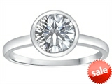 Tommaso Design™ 7mm Round Genuine White Topaz Engagement Solitaire Ring
