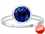 Tommaso Design™ 7mm Round Created Sapphire Engagement Solitaire Ring