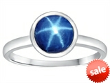 Tommaso Design™ 7mm Round Created Star Sapphire Engagement Solitaire Ring