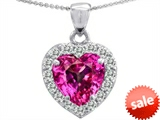 Original Star K™ Heart Shape 8mm Created Pink Sapphire Pendant
