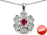 Original Star K™ Flower Pendant With Round 4mm Created Ruby