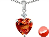 Original Star K™ Heart Shape 8mm Simulated Orange Mexican Fire Opal Heart Pendant style: 307941
