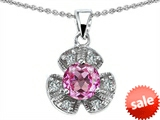 Original Star K™ Flower Pendant With Round 6mm Created Pink Sapphire style: 307945