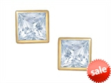 Tommaso Design™ Square Small Genuine Aquamarine Earrings