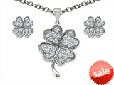 Celtic Love by Kelly ™ Cubic Zirconia Lucky Clover Pendant with matching earrings style: 307954