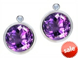 Original Star K™ Round Genuine Amethyst Earrings Studs With High Post On Back style: 307955