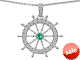 Original Star K™ Captain Wheel Pendant With Round Simulated Emerald