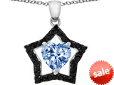 Original Star K™ 8mm Heart Shape Simulated Aquamarine Black Star Pendant