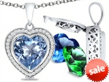 Switch-It Gems™ Heart Shape 10mm Simulated Aquamarine Pendant with 12 Interchangeable Simulated Birthstones style: 307963