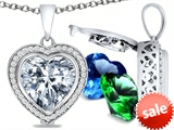 Switch-It Gems™ Heart Shape 10mm Simulated White Topaz Pendant with 12 Interchangeable Simulated Birth Months style: 307968