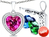 Switch-It Gems™ Heart Shape 10mm Simulated Pink Tourmaline Pendant with 12 Interchangeable Simulated Birth Months style: 307970